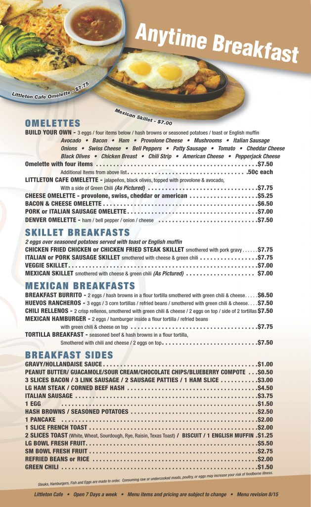 Littleton Cafe Menu Page 3