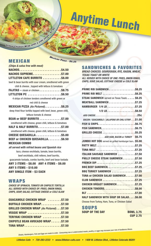 Littleton Cafe Menu - Anytime Lunch