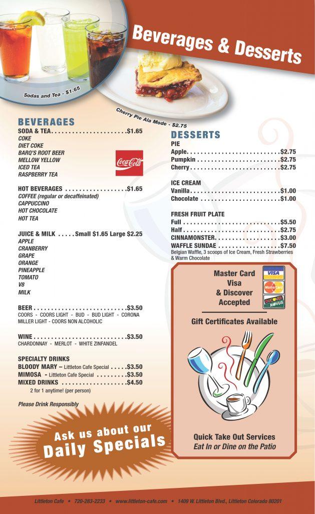 Littleton Cafe Menu Page 6 - Beverages & Desserts